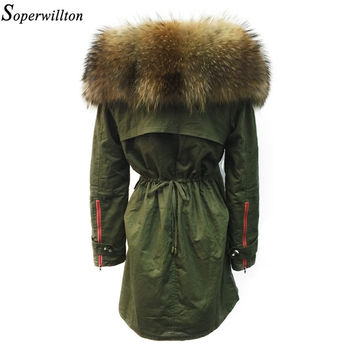 Soperwillton New 2017 Winter Jacket  Women Real Large Raccoon Fur Collar Thick Loose size Coat outwear Parkas Army Green #A050