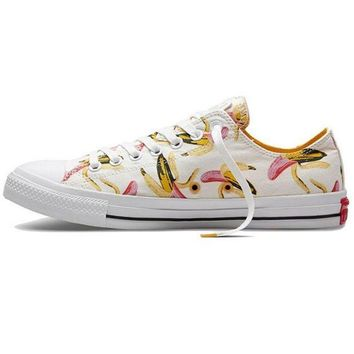 DCCKHD9 Converse Print White Banana All Star Sneakers for Unisex low tops sports Leisure Comfo