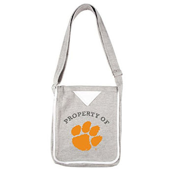 NCAA Clemson Tigers Women's Hoodie Crossbody Handbags, 9.5 x 2.25 x 11.5-Inch, Gray