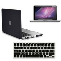 SmackTom 3 in 1 Rubberized Hard Case Skin for Macbook Pro 13 inches with Protective Keyboard Cover - Black