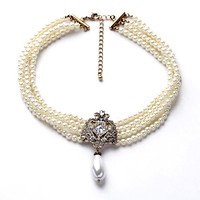 Multi Layered Clear Crystals Pendent Necklace