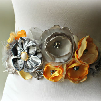 Grey and Yellow Flower Ribbon Sash for Bridal, Wedding Sash, Maternity Sash, Pregnancy Photo Prop, Prom, or Flower Girl