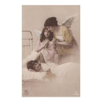 Children angel love. Vintage antique Photo.