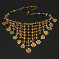 Choker Necklace Women's  Antique Coin Bohemian Gypsy Tassel Jewelry
