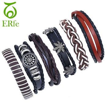 ER 2018 Leather Braclet Men Boho Woven Friendship Bracelets Female Male Wristband Punk Armband Women Hand Accessories LB001