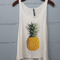MEDIUM Pineapple tank top, cute, pineapple, work-out top, running, gym,  tank, fun, trendy, fashionable, great gift, eyecandie