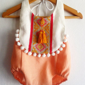 Baby Girl Romper/ Linen Boho Chic Sunsuit/ Baby Clothes/ Pom Pom/ Photo Props/ Size: NB,0-3,3-6,6-12,12-18,18-24 mths, 2T-4T