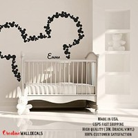Wall Decal Vinyl Sticker Decals Art Decor Design Disney Custom Baby Name Head Mice Ears Mickey Mouse Letter Gift Kids Children Nursery(r240)