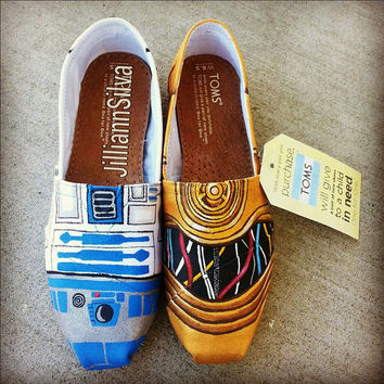 Star Wars R2D2 / C3P0 Toms - New Shoes Included - Made to Order - MENS / WOMENs
