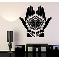 Vinyl Wall Decal Mehndi Decoration Beauty Girl Hands Henna Lotus Stickers Unique Gift (697ig)
