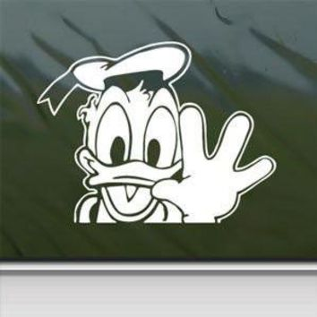 Disney White Sticker Decal Donald Duck Car Window Wall Macbook Notebook Laptop Sticker Decal