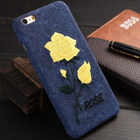 6S Plus 7 Plus Elegant Embroidered Rose Leather Case For iPhone 6 6S 6 6s Plus 7 7 Plus Embroidery Rose Flower Back Phone Cover -0402