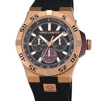 Vince Camuto Mens Rose Gold Tone and Black Watch with Silicone Strap