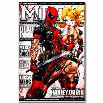 J1441- Deadpool and Harley Quinn Superheroes Comic Movie Pop 14x21 24x36 Inches Silk Art Poster Top Fabric Print Home Wall Decor