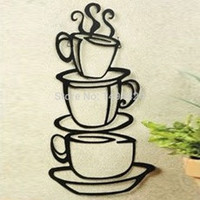 Beautiful Removable Coffee House Cup Vinyl Wall Art Metal Mug Wall Sticker Decals DIY Kitchen Decor [7688060358]