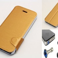 """""""Gold"""" Bracket Phone Holder Flip Stand Wallet Case Cover With Magnetic Closure Flap For Apple Iphone 5 (INCLUDED: MATTE, ANTI-GLARE FRONT & BACK PROTECTORS + DIAMOND EARPHONE DUST PLUG)"""