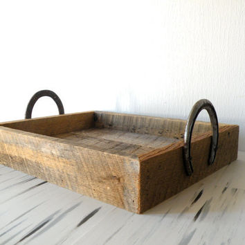 Reclaimed Barn Wood Serving Tray W/ Horse Shoe Handles