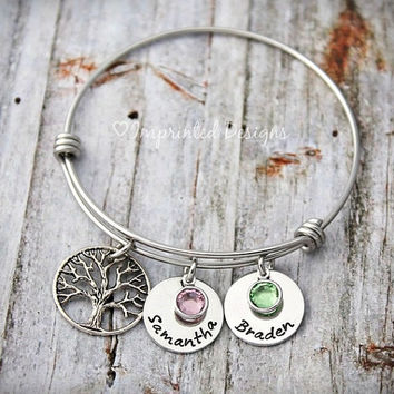 Family Tree of Life - Mother Bracelet - Personalized - Adjustable - Name Birthstone -  Alex and Ani Style - Hand Stamped Jewelry