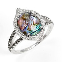 Women's Judith Jack 'Metal Moment' Stone Ring - Silver/ Crystal/ Abalone
