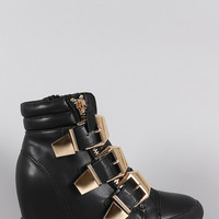 Liliana Triple Buckled High Top Wedge Sneaker