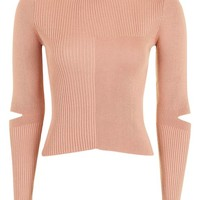 Splice Elbow Knitted Top - Sweaters & Knits - Clothing