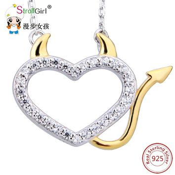 925 Sterling Silver Chain Cubic Zirconia Devil Love Heart Pendants & Necklaces For Women Gold Color Girl dropshippi Jewelry