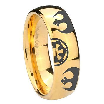 8mm Star Wars Rebel Alliance & Galactic Empire Dome Gold Tungsten Promise Ring