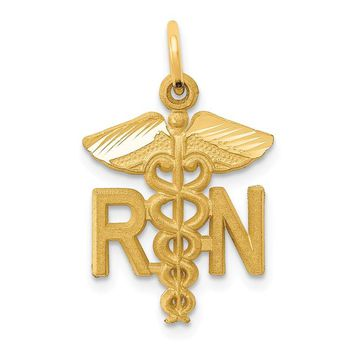 14k Yellow Gold RN Nurse Satin Finish Charm