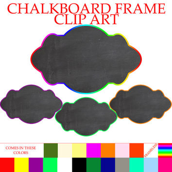 Chalkboard Frames with Colorful Borders Clipart - Instant DIGITAL DOWNLOAD