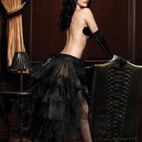 Long tulle bustle skirt with satin bow accents