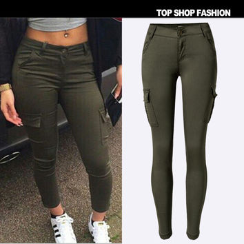 With Pocket Women's Fashion Low Waist Slim Stretch Green Casual Sports Camping Pants Outdoors Skinny Pants [6365916996]