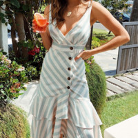 Spring and summer dress striped tide new dress skirt holiday long skirt female