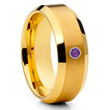 Tungsten Wedding Band - Amethyst Tungsten Ring - Yellow Gold Ring