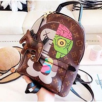 Louis Vuitton LV Fashion Women Leather Daypack Backpack College Bookbag