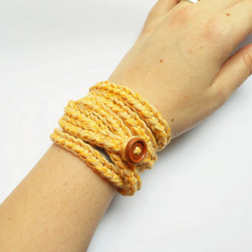 Crochet Cotton Wrap Bracelet in Saffron, ready to ship.