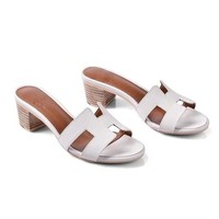 Hermes Women Fashion Leather Sandals Heels Shoes
