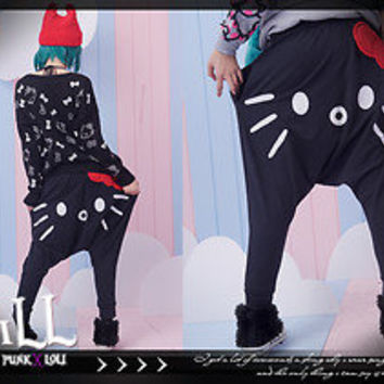 Street Lolita japan cartoon fantasy hello kitty in love reversible harlem pants