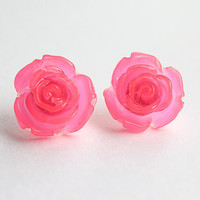Fabulous Neon Pink Rose Studs attached to Surgical Steel Posts