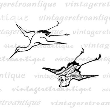 Digital Image Two Birds Download Flying Birds Graphic Illustration Printable Vintage Clip Art Jpg Png Eps  HQ 300dpi No.1590