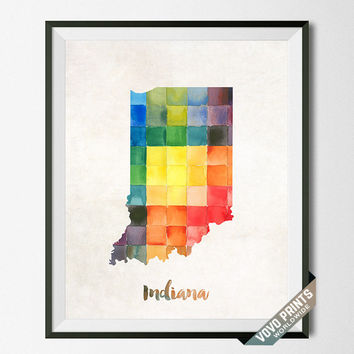 Indiana State Print, Artwork, Map, Wall Art, Poster, Painting, Kitchen Art, Bedroom, Bathroom, USA, United States, College, School [NO 6]