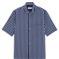 Kitsune Men's Stripe Short Sleeve Shirt | Navy on Garmentory
