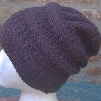 Ready to Ship - Knit Hat - Slouchy Beanie - Womens Hat - Mens Hat - Lake Tahoe Hat in dark gray