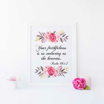 "Nursery bible verse wall art print ""Your faithfulness is as enduring as the heavens"" Psalm 89:2 print Christian wall art INSTANT DOWNLOAD"