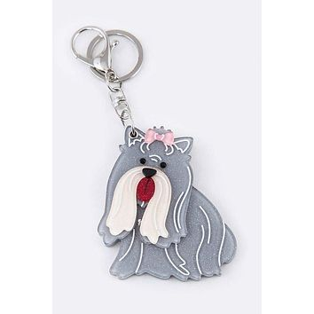 My Best Friend Collie Mirror Key Chain Charm Grey