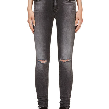 J Brand Grey Distressed Super Skinny Jeans