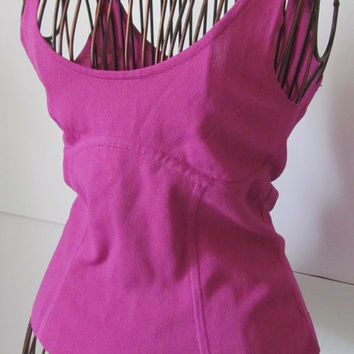 Express Fuschia Pink Sleeveless Top Women sz S Junior Small Tops 90s Clothing 90s Shirts Pink Tank Top Blouse