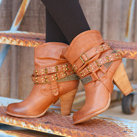 A Rhinestone In The Rough Booties - Tan