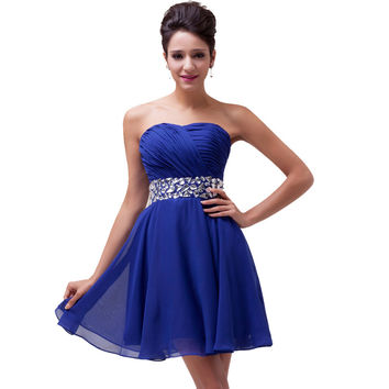 Elegant Design!Sexy Strapless Women Blue Red Chiffon Short Prom Dresses Sequined Evening Gowns Formal Prom Dress Stock 4792