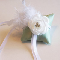 Mint Green Pillow Ring for Dogs, White Flower on Mint Green Pillow, Wedding Dog Accessory, Ring Bearer Pillow