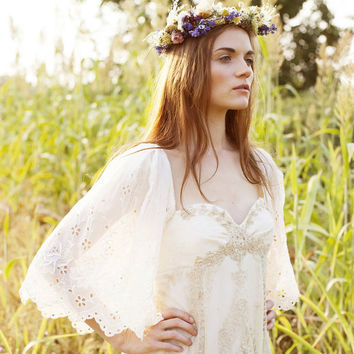 Gypsy Rose - Romantic Boho French Lace Eyelet Wedding Gown Custom made Wedding Dress